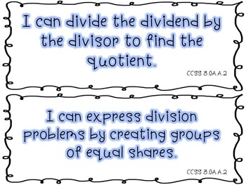 Third Grade Math Objectives for CCSS: Operations in Algebraic Thinking FREEBIE