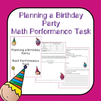 Planning A Birthday Party Math Performance Task