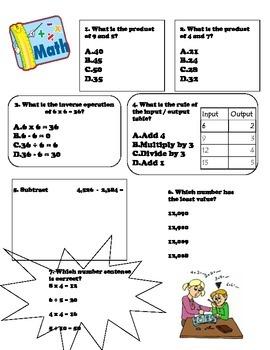 Third Grade Math Review Beginning to Mid Year Version 1