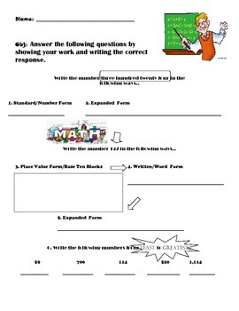 Third Grade Math Review (Beginning to Mid-Year) Version 2
