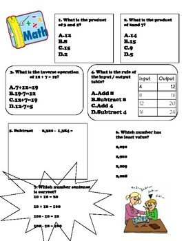 Third Grade Math Review (Beginning to Mid-Year) Version 2