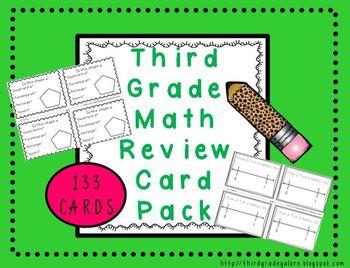 Third Grade Math Review Cards Pack