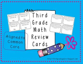 Third Grade Math Review Cards Set #1