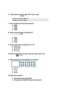 Third Grade Math Review Test
