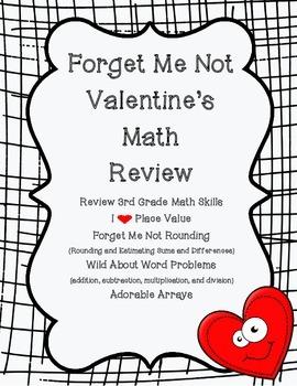Third Grade Math Review Valentine's Edition