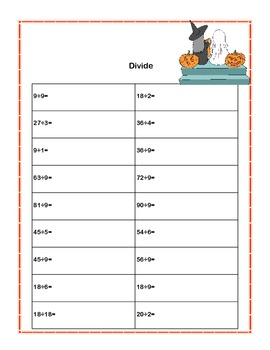 Third Grade Math Review- Worksheets that Addresses 5 of the CCSS Halloween Theme