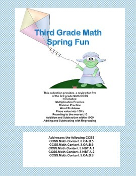 Third Grade Math Review- Worksheets that Address 5 of the CCSS Spring Theme