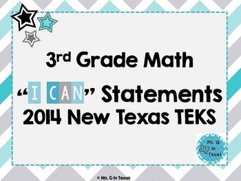 "Third Grade Math *Revised* TEKS ""I Can"" Statements- Chevron"