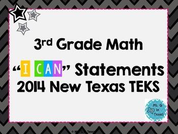 "Third Grade Math *Revised* TEKS ""I Can"" Statements- Neon Chevron"