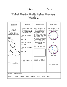 Third Grade Math Spiral Review Preview- Week 1