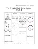 Third Grade Math Spiral Review Preview- Week 1