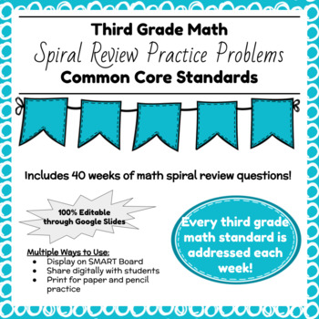 Third Grade Math Spiral Review for the Whole School Year!
