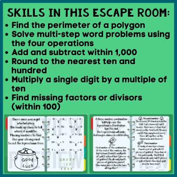 Third Grade Math St. Patrick's Day Digital Escape Room