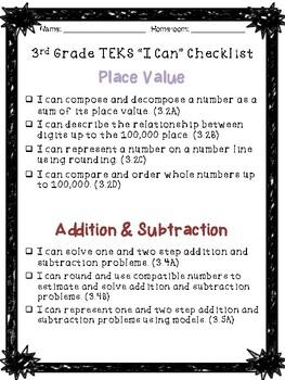 Third Grade Math Student Data Tracking Binder for TEKS
