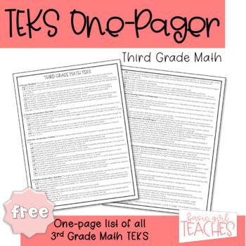 Third Grade Math TEKS One Pager