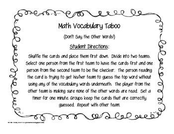 Third Grade Math Taboo