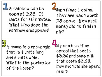 Third Grade Math Task Cards- Test Prep