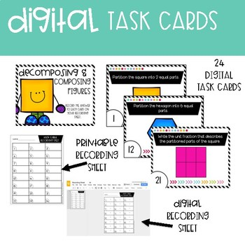 Third Grade Math Task Cards ~ Digital Decomposing and Composing Figures