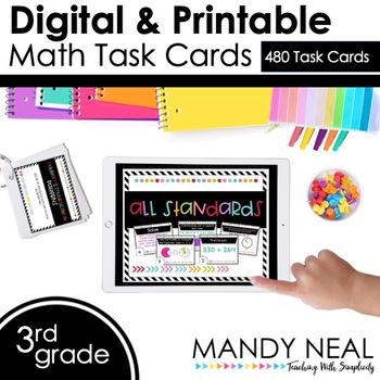 Third Grade Digital Math Task Cards ~ Bundle | Distance Learning