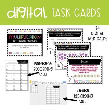 Third Grade Digital Math Task Cards ~ Multiplication as Equal Groups