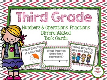 Third Grade Math Task Cards: Numbers & Operations Fractions