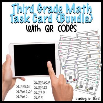Third Grade Math Task Cards with QR Codes {Bundled}