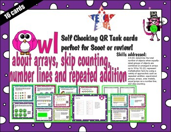 arrays, skip count, number lines, repeated addition Tek 3.
