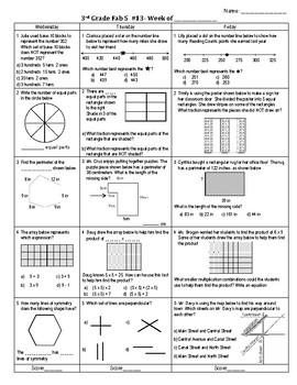 Third Grade Math Spiral Review Week 13