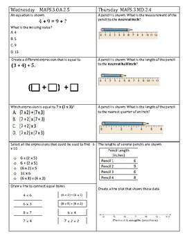 Third Grade Math Spiral Review Week 5