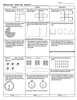 Third Grade Math Spiral Review Week 11