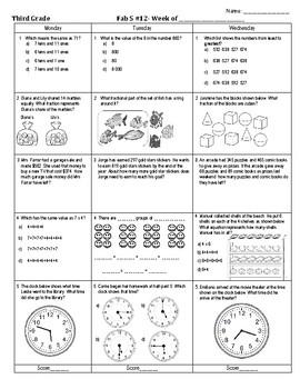 Third Grade Math Spiral Review Week 12