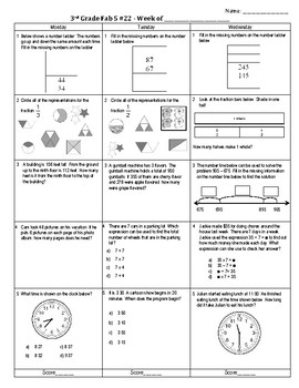 Third Grade Math Test Prep FAB 5 Week 22