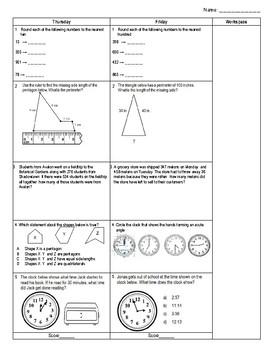 Third Grade Math Spiral Review Week 25