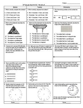 Third Grade Math Spiral Review Week 26