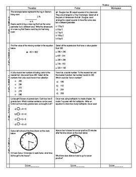 Third Grade Math Test Prep FAB 5 Week 27