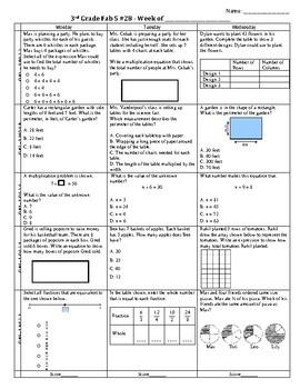 Third Grade Math Test Prep FAB 5 Week 28