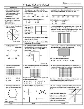 Third Grade Math Spiral Review Weeks 13 (three day week)-16