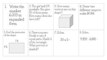 Third Grade Math Test Prep Spiral Review