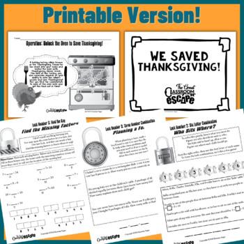 Third Grade Math Thanksgiving Escape Room Activity (Digital or Print)