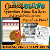 3rd Grade Math Thanksgiving Escape Room Activity (Digital or Print)