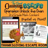 Third Grade Math Thanksgiving Escape Room Activity (Digita