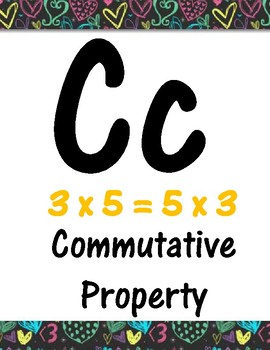 Third Grade Math Theme Alphabet (hearts)