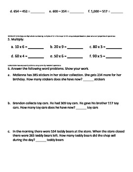 Third Grade Math Unit 1 Pre and Post Tests (NBT.1, NBT.2, NBT.3, OA.8, MD.3)