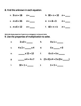 Third Grade Math Unit 2 Pre and Post Tests (3.OA.1 to 3.OA.7 & 3.MD.4)
