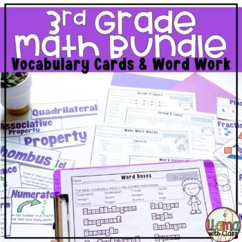 Third Grade Math Vocabulary Cards and Word Work Activities