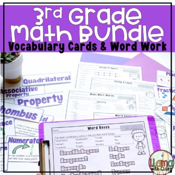 Third Grade Math Bundle Vocabulary Cards and Word Work Activities