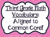 Third Grade Math Vocabulary: Common Core!!!