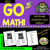 GO MATH! 3rd Grade Math Vocabulary Crossword Puzzles Chapters 1-12 BUNDLE