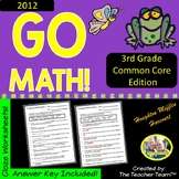 GO MATH! 3rd Grade CLOZE Worksheet Vocabulary Activities Chapters 1-12 BUNDLE