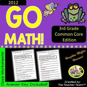 GO MATH! 3rd Grade 2012 Version CLOZE Worksheet Vocabulary